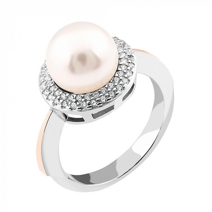 Серебряное кольцо Каролина с золотой накладкой, имитацией жемчуга и фианитами 000067285