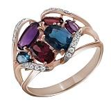 Золотое кольцо с топазами, родолитами, аметистами и бриллиантами Эсмеральда