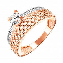 Кольцо из красного золота с фианитами и родированием 000128001