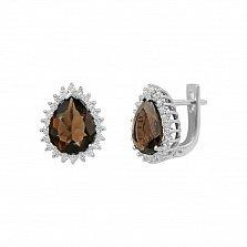 Серебряные серьги Фелиция с раухтопазом и фианитами