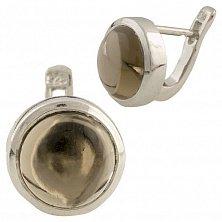 Серебряные серьги Пенелопа с раухтопазом