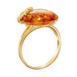 Серебряное кольцо с янтарем и позолотой 000137647