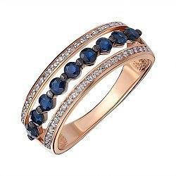 Кольцо из красного золота с сапфирами и бриллиантами 000145556