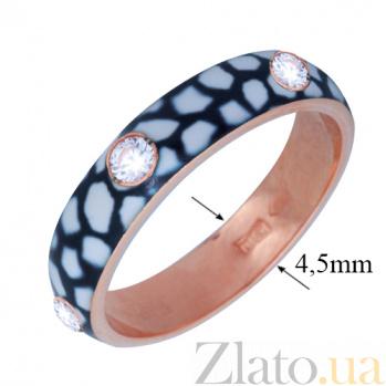 Золотое кольцо Пастель с фианитами и эмалью жираф К221кр/жираф