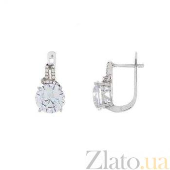 Серьги из серебра с белым цирконием Таис AQA--R0632-1E