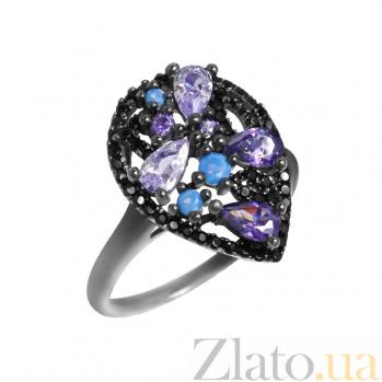 Серебряное кольцо Южная ночь с черными и фиолетовыми фианитами 000082025