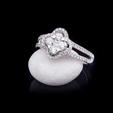 Золотое кольцо Мистик в белом цвете с бриллиантами в стиле Ван Клиф