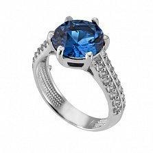 Серебряное кольцо с синим цирконием Снежана