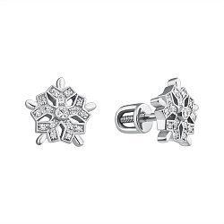 Серебряные серьги-пуссеты Снежинка с бриллиантами