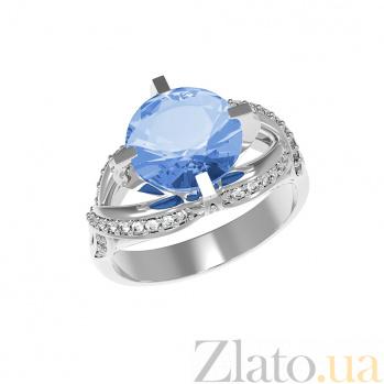 Серебряное кольцо Нинель с кварцем цвета танзанит и фианитами 000079720