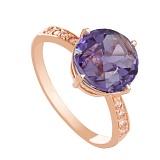 Золотое кольцо с аметистом и фианитами Эстель