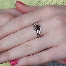 Серебряное кольцо Виана с гранатом и фианитами