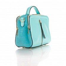 Кожаная деловая сумка Genuine Leather 8916 бирюзового цвета с замшевыми вставками, на молнии