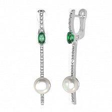 Серебряные серьги Дора с зеленым кварцем, жемчугом и фианитами
