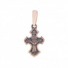 Золотой крестик Вечная жизнь с чернением