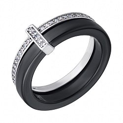 Кільце з срібла і чорної кераміки Мельбурн з фіанітами 000028324