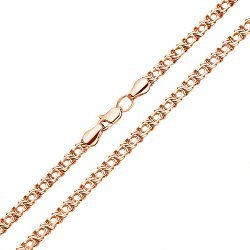 Цепь из красного золота в плетении бисмарк 000135815