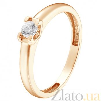 Кольцо в красном золоте Валерия с фианитом 000023844