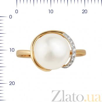 Кольцо из красного золота Алана с жемчугом и бриллиантами 000080964