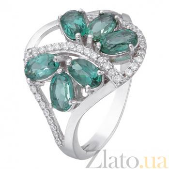 Серебряное кольцо с зеленым кварцем  Вуаль 1819/9р зел кварц