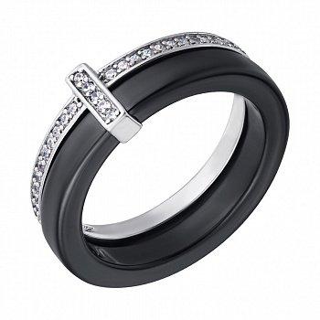 Кольцо из серебра и черной керамики Мельбурн с фианитами 000028324