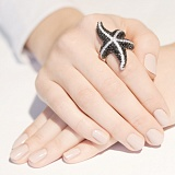 Серебряное кольцо с цирконием Морская звезда