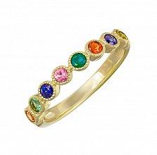 Кольцо в желтом золоте Тайна с изумрудом и разноцветными сапфирами