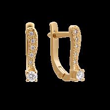 Золотые серьги Свет солнца с бриллиантами