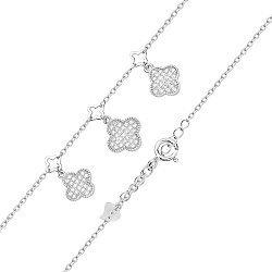 Серебряный браслет с фианитами и подвесками 000130687