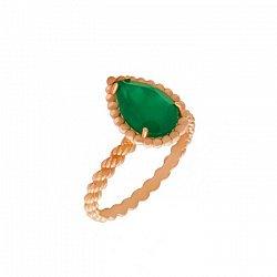 Золотое кольцо Юджиния с зеленым агатом в стиле Бушерон