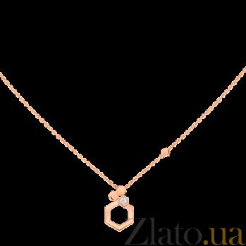 Колье в розовом золоте с бриллиантом Bee N-Ch/Bee-R-diam