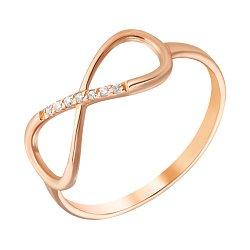 Золотое кольцо Магия бесконечности в красном цвете с фианитами