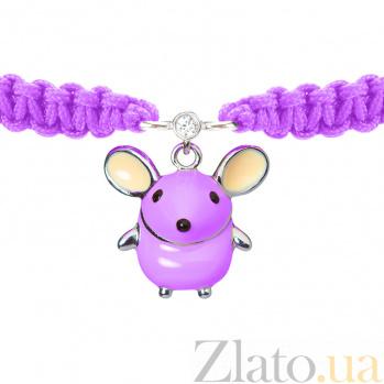 Детский плетеный браслет Розовая мышка с эмалью и фианитом, 15-17см 000080622