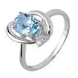 Кольцо из белого золота Джейн Грей с голубым топазом и бриллиантами