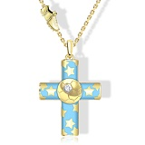 Крест из желтого золота с эмалью и белым сапфиром Пифагор