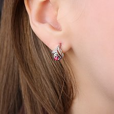 Серебряные серьги с рубинами и бриллиантми Подарок природы