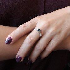 Серебряное кольцо Анни с синим топазом и фианитами