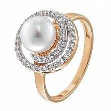 Золотое кольцо Персеида с жемчугом и фианитами