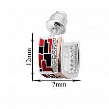 Серебряные серьги-пуссеты Эльнара с золотыми накладками, фианитами, красной и черной эмалью