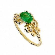 Золотое кольцо с изумрудом и бриллиантами Мнемозина
