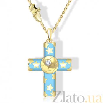 Крест из желтого золота с эмалью и белым сапфиром Пифагор 000029812