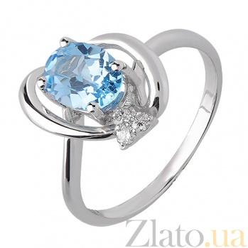 Кольцо из белого золота Джейн Грей с голубым топазом и бриллиантами TRF--1221551н/топ