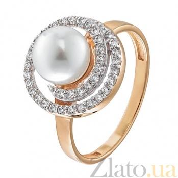 Золотое кольцо Персеида с жемчугом и фианитами EDM--КД2040