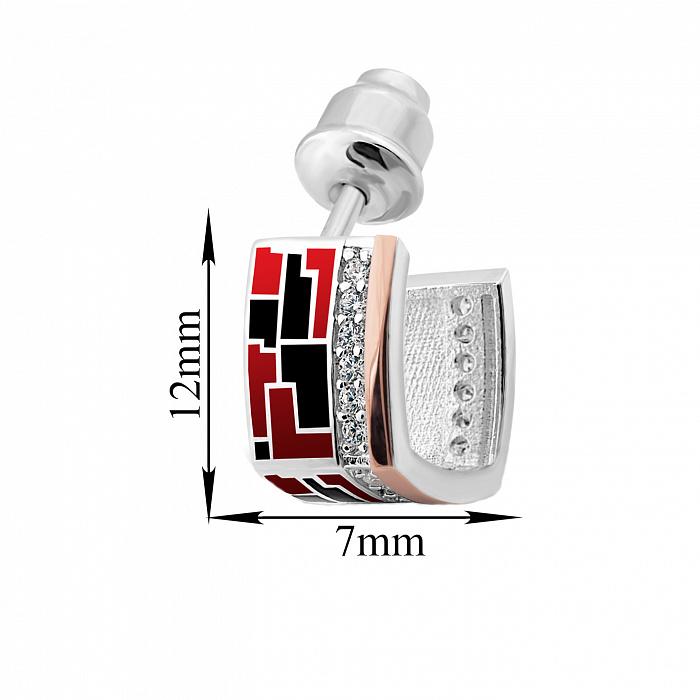 Серебряные серьги-пуссеты Эльнара с золотыми накладками, фианитами, красной и черной эмалью 000067127