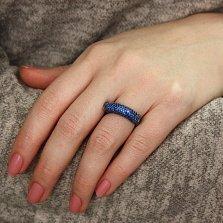 Серебряное кольцо Кассиопея с черным родием и синими фианитами