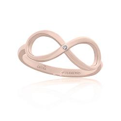 Кольцо из красного золота Бесконечность с бриллиантом