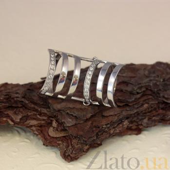 Серебряное кольцо Корсетное на две фаланги с фианитами 000080045