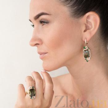 Золотые серьги-подвески Лесная царевна с зеленым кварцем и фианитами 000082558