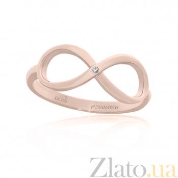 Кольцо из красного золота Бесконечность с бриллиантом 000098394