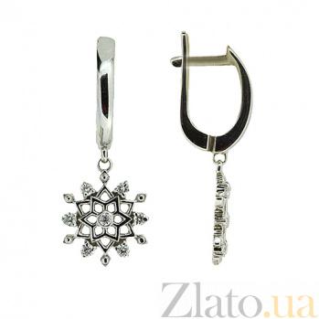 Серебряные серьги-подвески с бриллиантами Снежинки ZMX--ED-6969-Ag_K